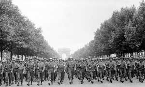 American troops march Champs Elysees