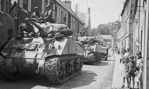 Sherman tanks passing through Bayeux