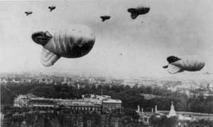 Barrage ballons over London during World War II